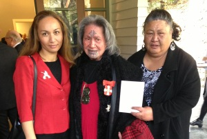 Marama with Dame Nganeko Minhinnick (middle) and Mary-ann Harris at Nganeko's investiture ceremony.