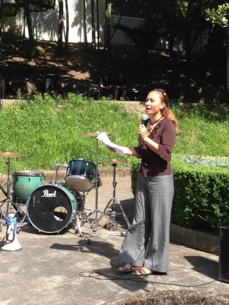 Marama Davidson speaking at Myers Park - March Against Rape Culture